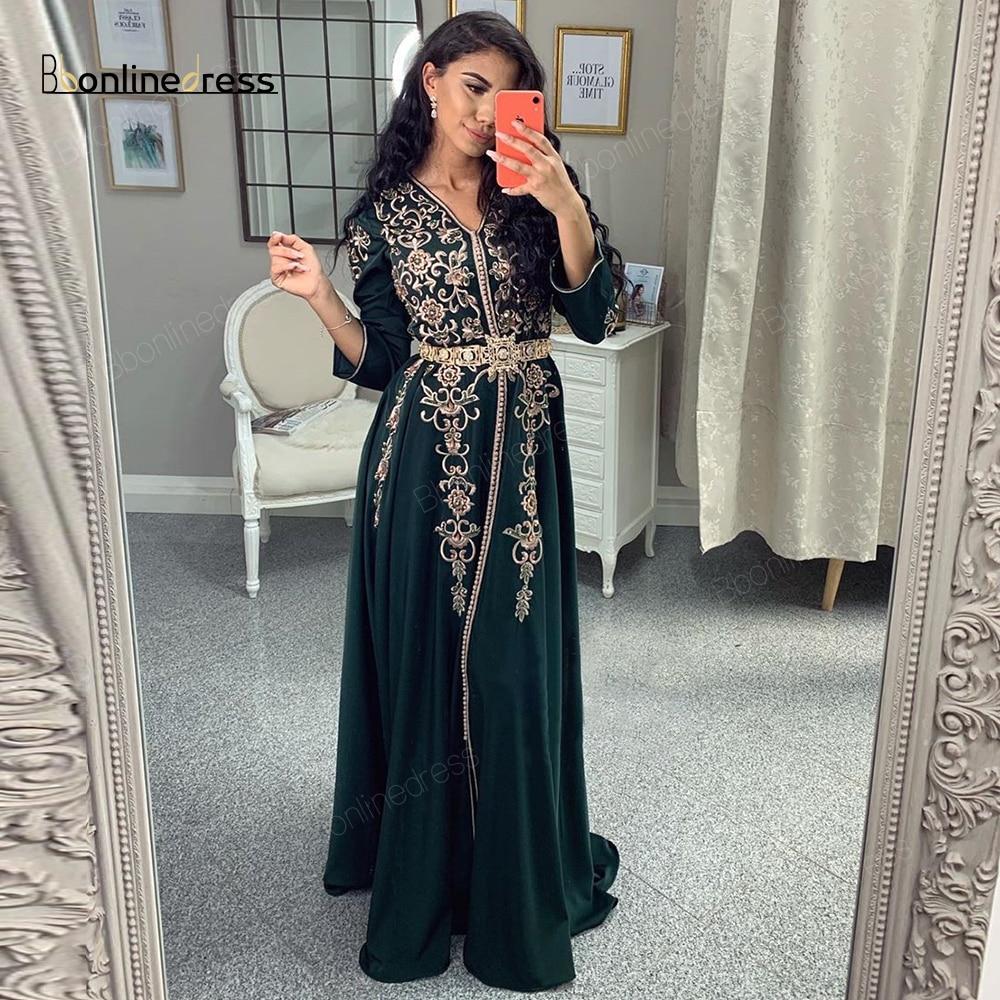 Марокканский кафтан вечернее платье Вышивка Аппликации длинное вечернее платье длинный рукав Арабский мусульманский вечерние-платье ...