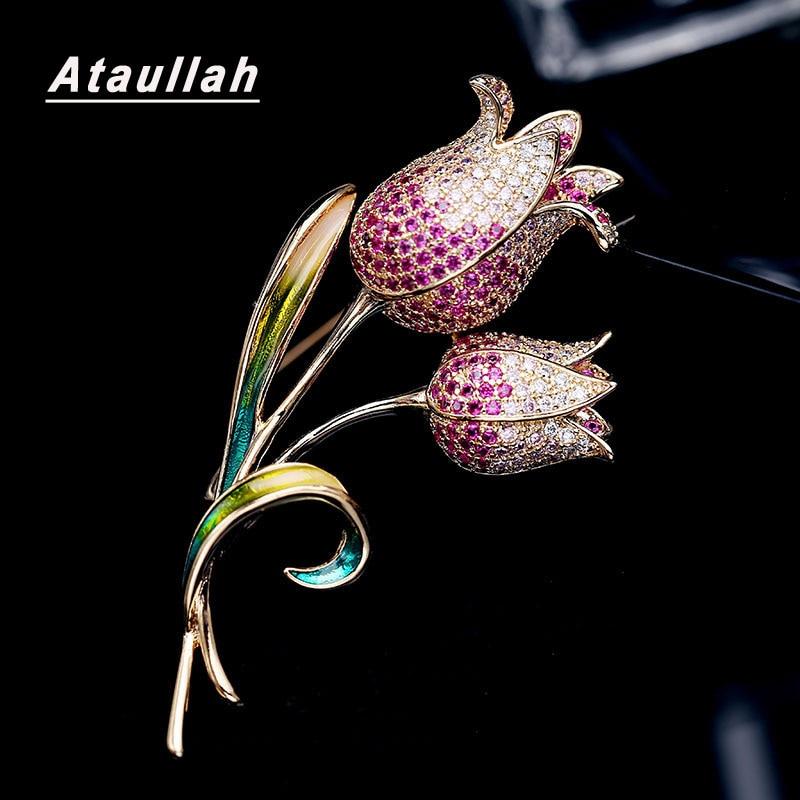 Ataullah elegante tulipa flor broche pino strass zircão cúbico pave jóias feminino casaco vestido broches acessórios presentes cw003