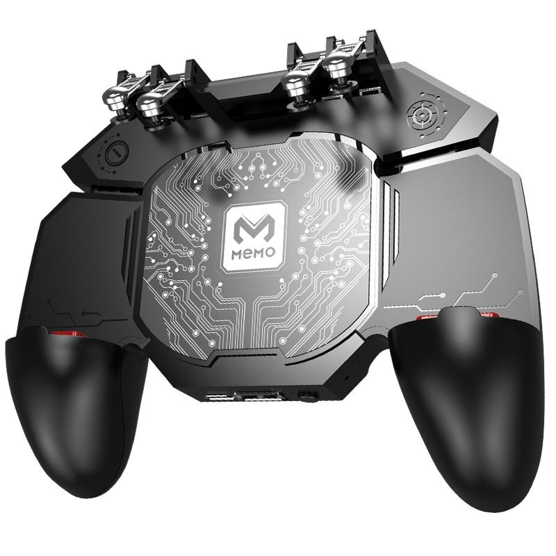 MeMo DL88 Phone Cooler Fan Game Controller Grip 6 Finger Trigger Joystick Gamepad with Cooling function for PUBG shooting game