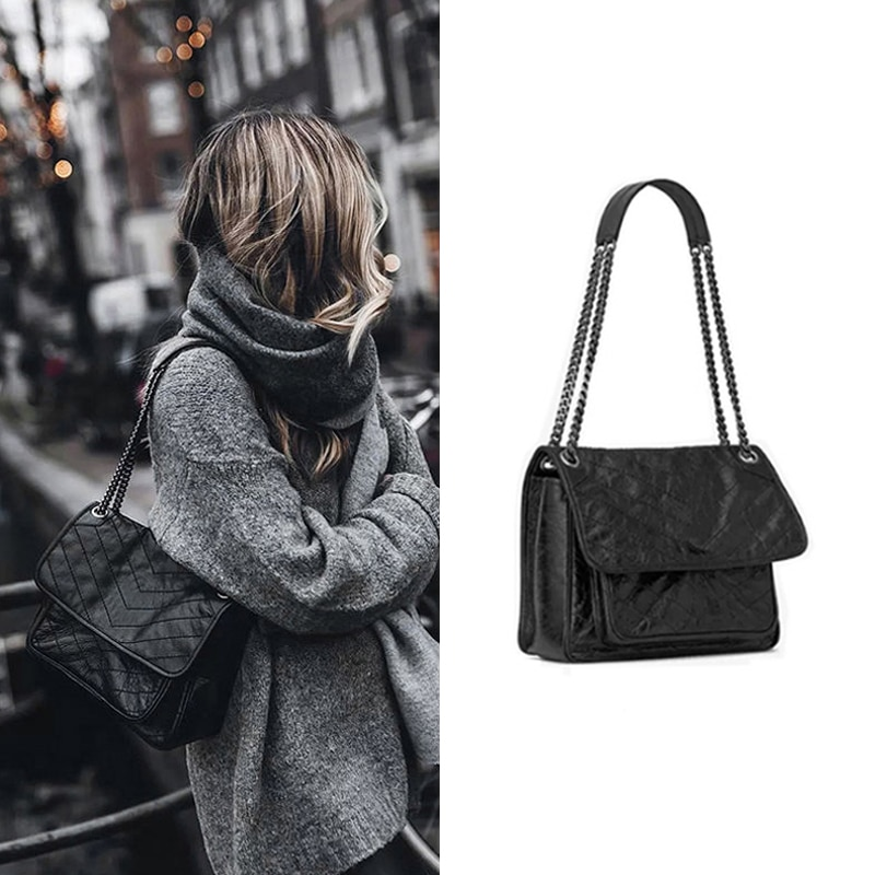2021 New Rhombus Postage Bag Chain Oil Wax Skin New Black Rock Soft Single Shoulder Oblique Span Chain Bag Cross Stray Tote Bag