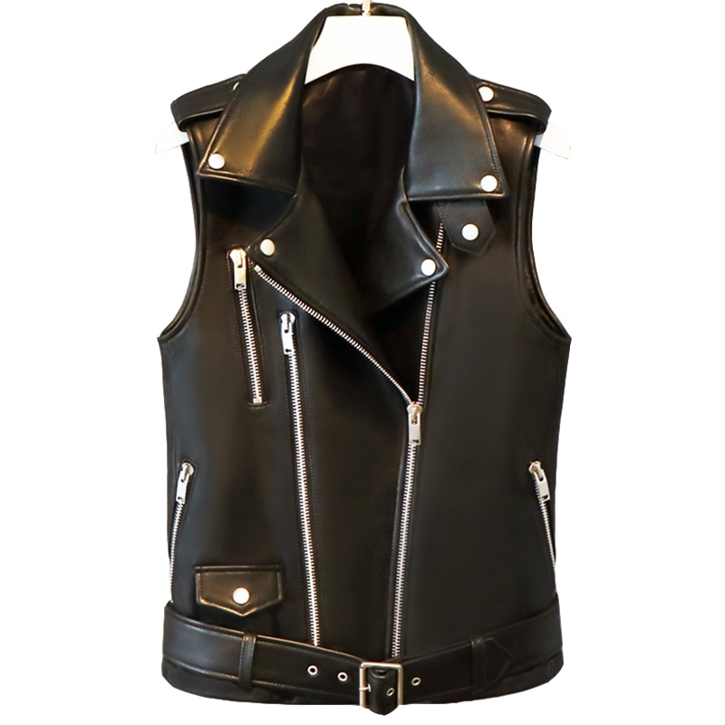 Lautaro Short black spring faux leather vest women zipper Plus size sleeveless biker jacket Leather waistcoat gilet 5xl 6xl 7xl