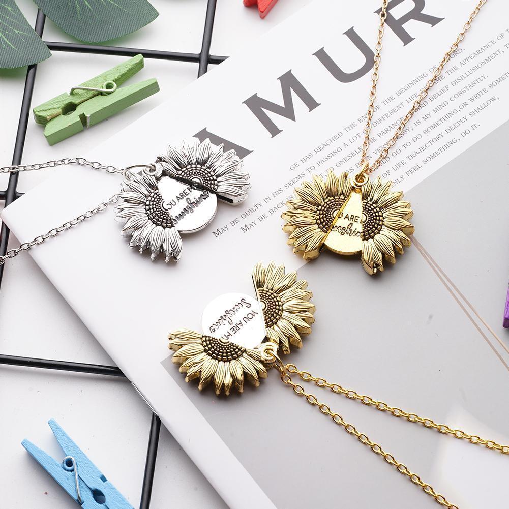 Colgante abierto de girasol, colgante You Are My collar con diseño de sol para mujer, venta al por mayor, collar de oro personalizado A4U0