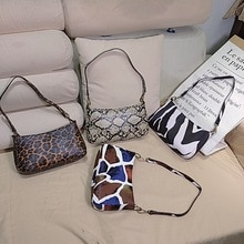 Bolsa Feminina Luxury Brand Designer Female Bag Underarm Bag Baguette Bag Retro Snake Pattern Pu Lad