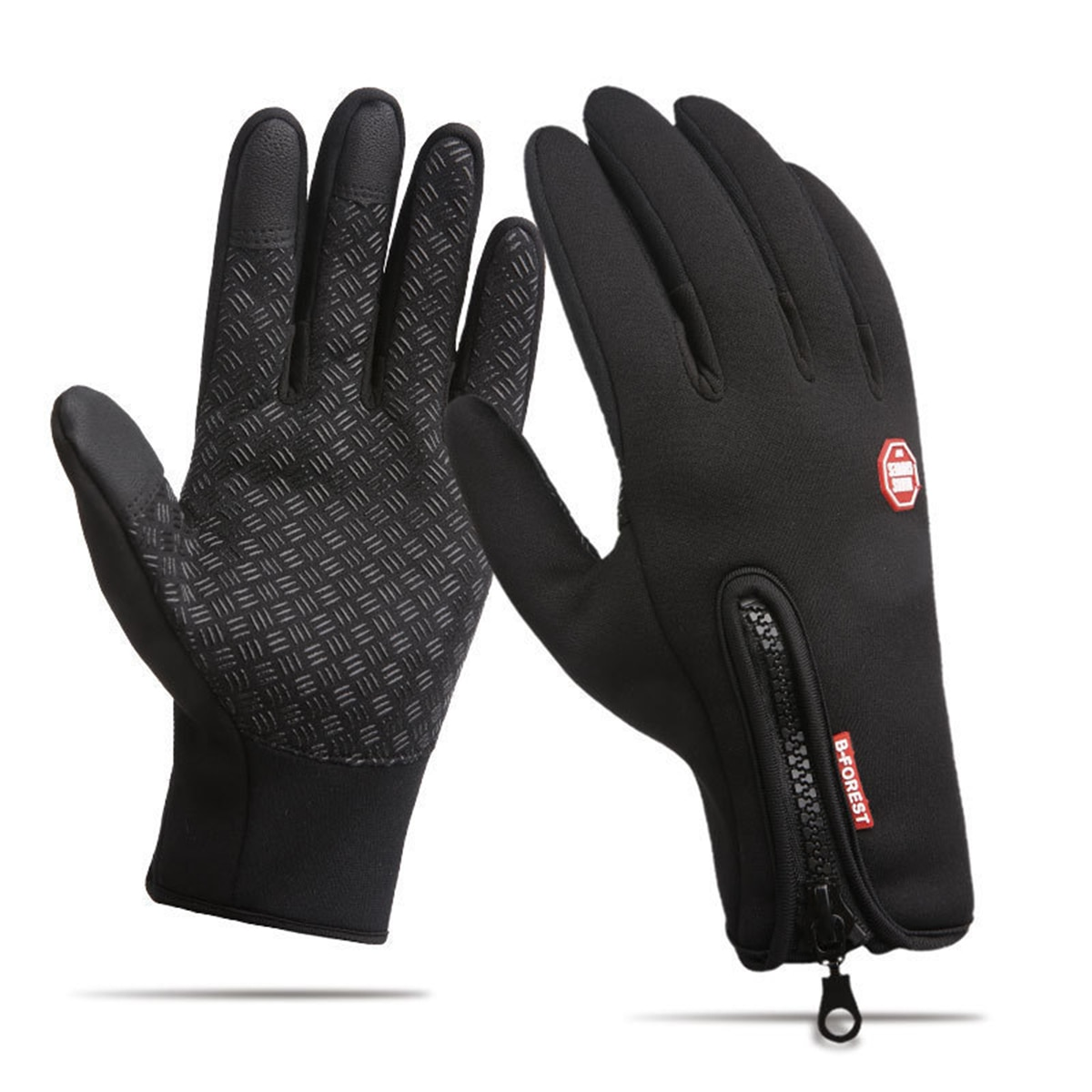 Unisex Touch Screen Windproof Ski Horse Riding Gloves Breathable Warm Equestrian Gloves For Men Women Black Zipper Gloves