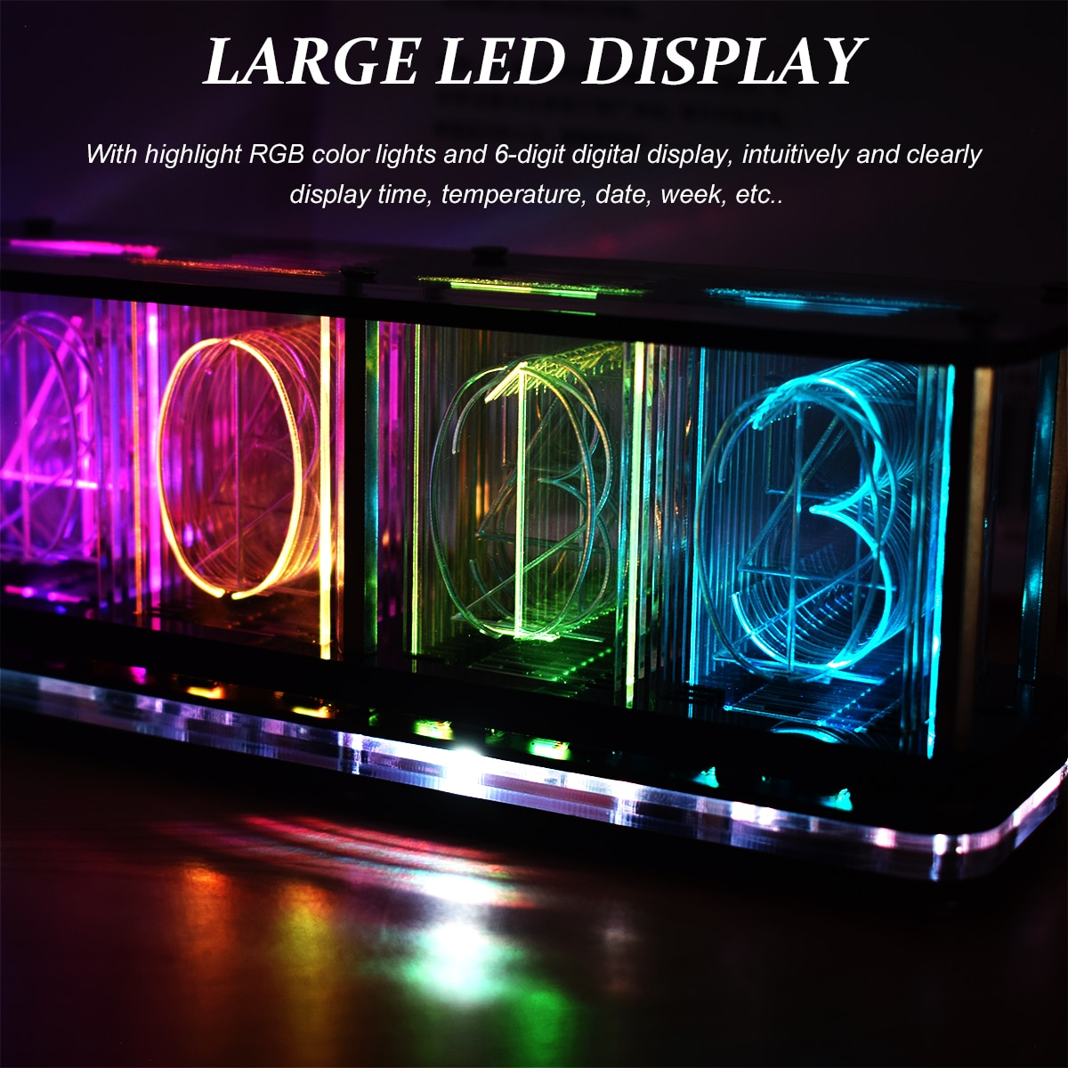 AliExpress - Digital LED Alarm Clock Kit Large Font 6-digit Display Electronic Clock Bulk Music Spectrum Display Clock Modulel DIY Clock