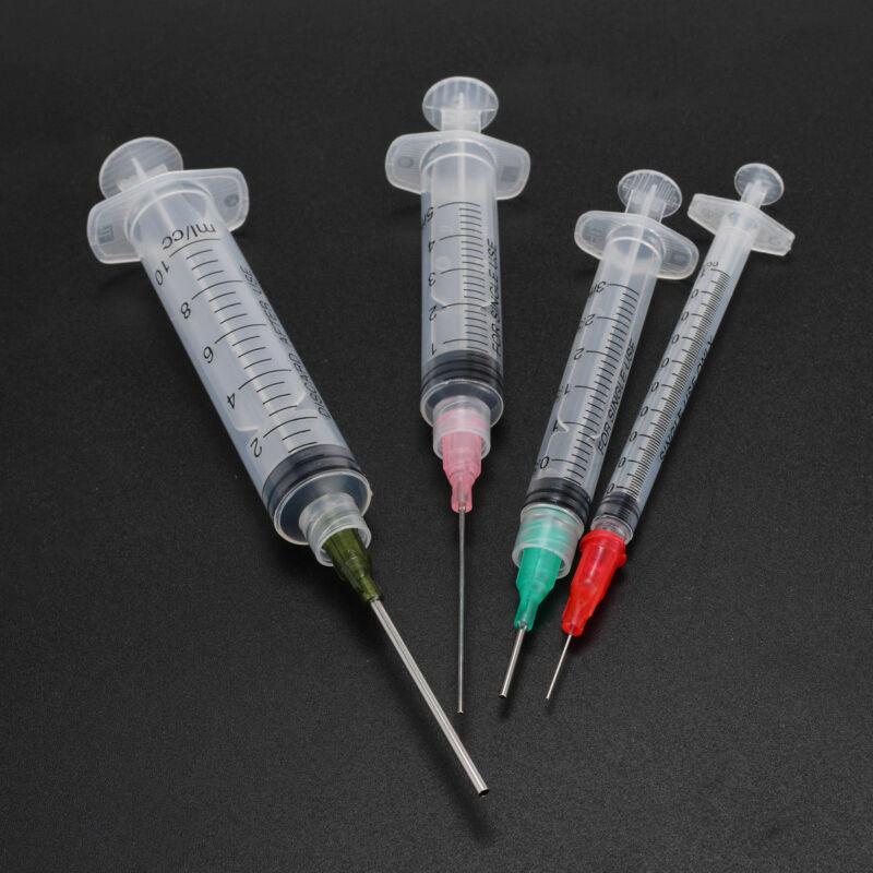 4Pcs Syringes with 4pcs 14G-25G Blunt Tip Needles and Caps For Industrial Dispensing Syringe 15pcs syringes set 14 16 20ga blunt tip needle with caps luer slip syringe glue applicator multi functional