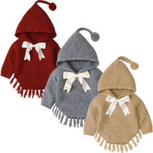 Abrigo tejido niña bebé borla chaqueta prendas de vestir capa manga larga suéter Bowknot trajes Otoño Invierno ropa Poncho Enfant