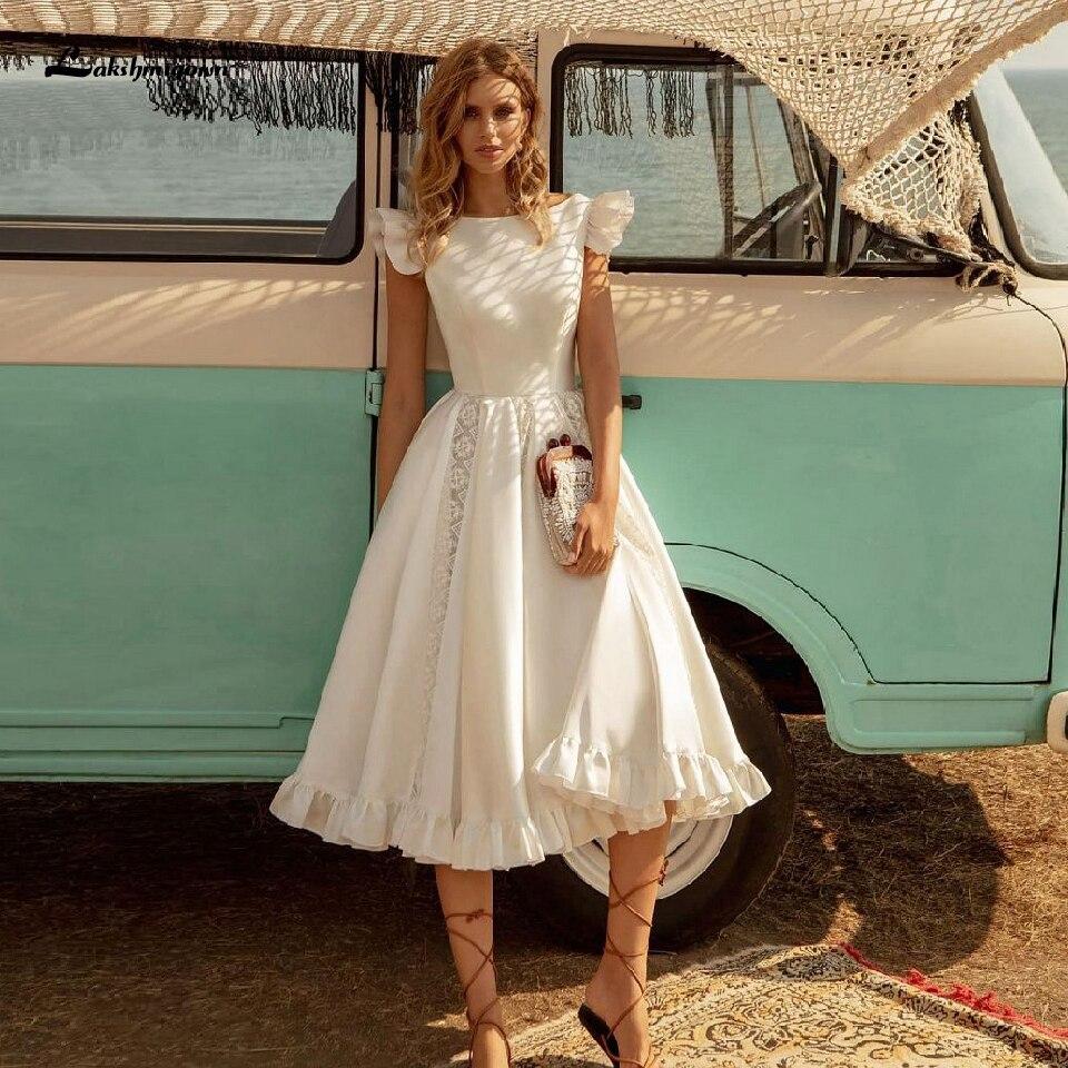 Vestido de novia de satén, Vintage, para verano, estilo playero, 2020, Sexy, sin espalda, vestido de novia con encaje con volantes