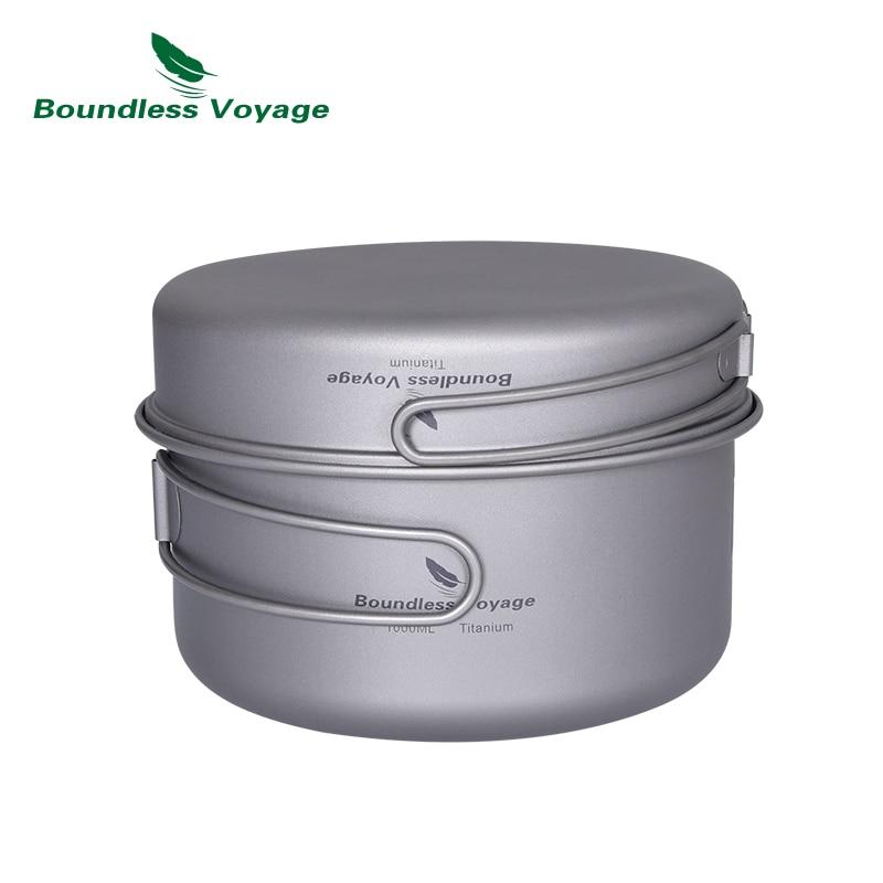 Boundless Voyage Portable Mug Titanium Pot Pan Set with Folding Handles Camping Hiking Outdoor Ultralight Cooker Tableware
