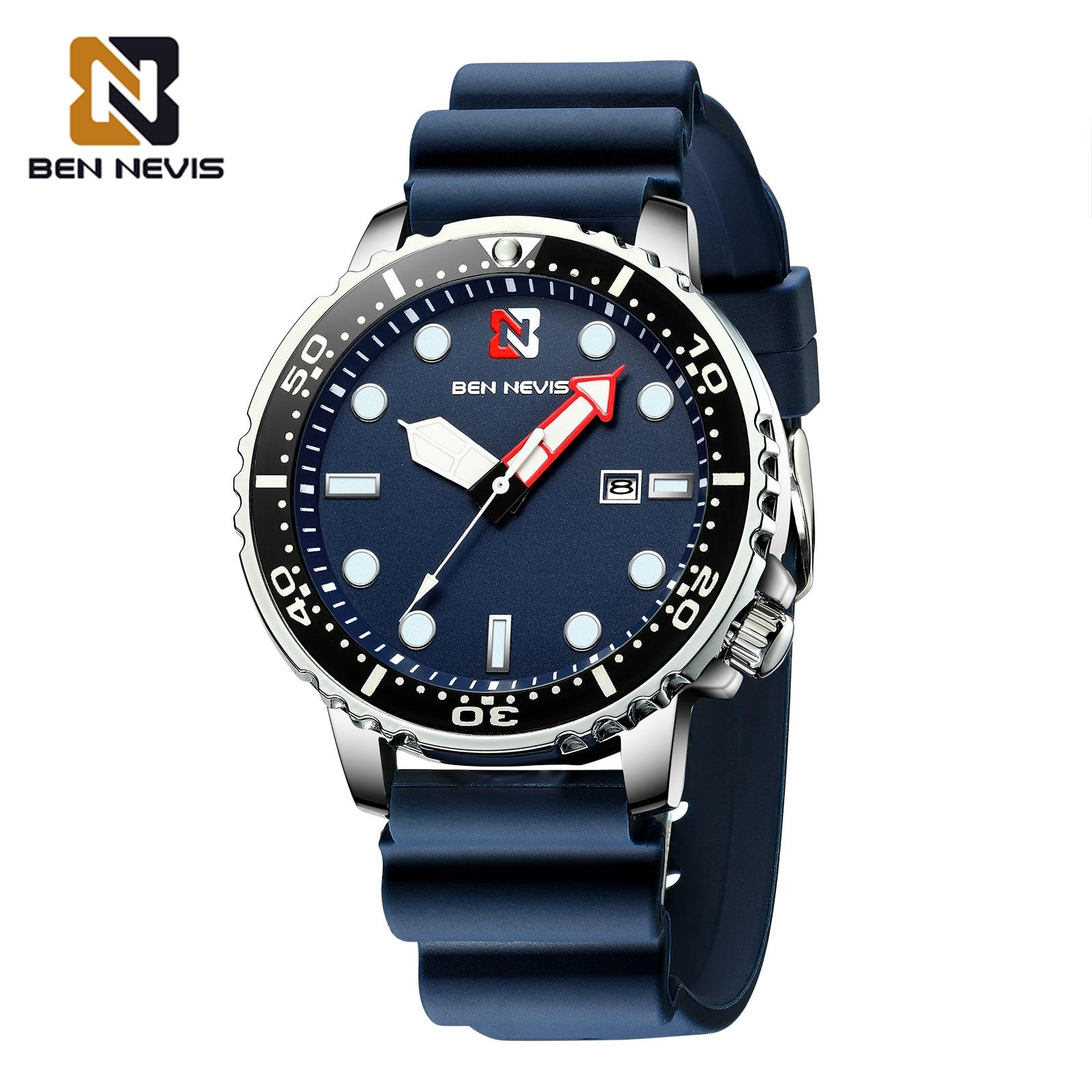 Ben Nevis cuarzo de los hombres reloj con fecha correa de caucho de silicona de impermeable azul deporte reloj para hombre, relojes masculino A5