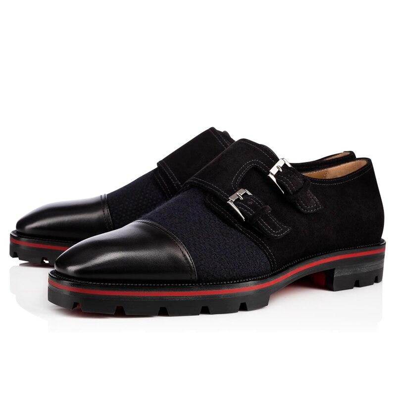 Qianruiti الرسمي أحذية أسود أزرق الراهب حزام الرجال اللباس الانزلاق على الرجال أوكسفورد خليط الأزياء الأحذية الرجال اللباس أحذية EU39-EU46