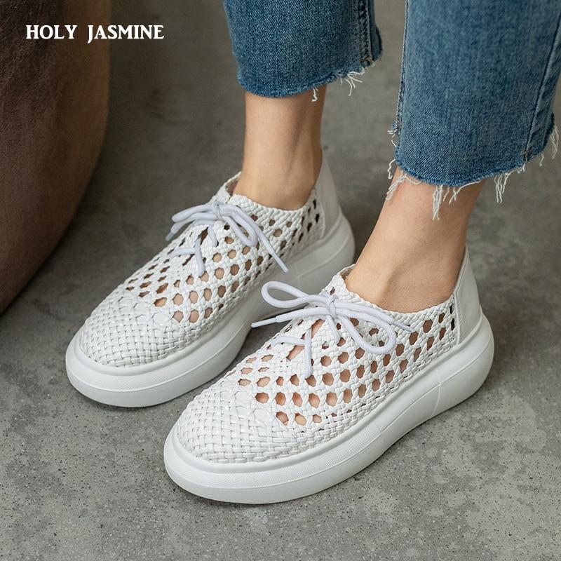 النساء حذاء مسطح الدانتيل متابعة جولة تو شبكة جديلة الجوف خارج تنفس حذا فردي للسيدات قصيرة كول أحذية 2021 جديد الربيع الصيف
