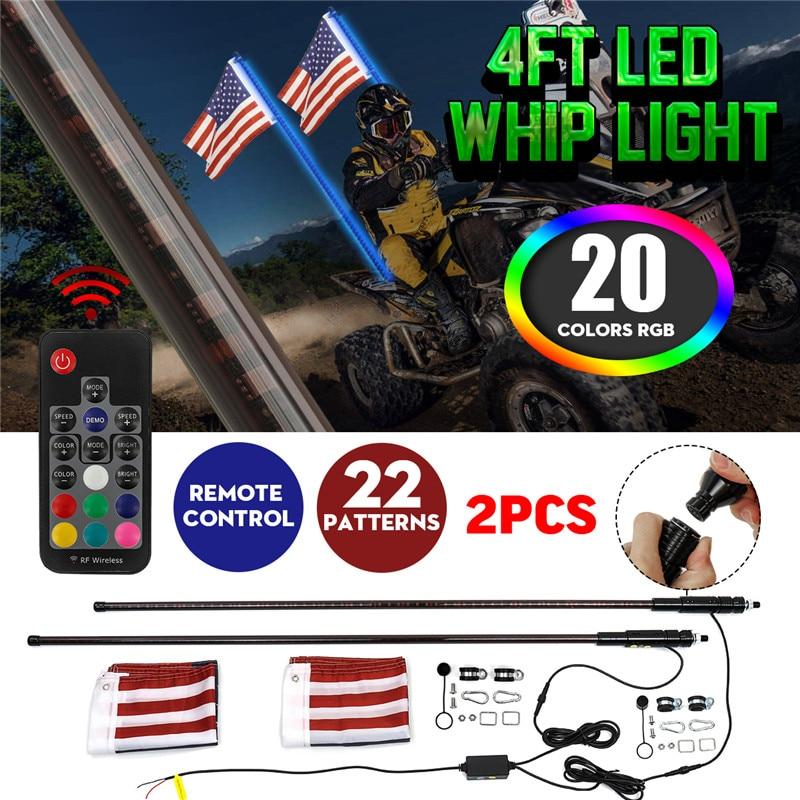 1 paire LED fouet lumière 3/4FT RGB Muti couleur pliable sans fil télécommande mât lampe lumière DC12V + amérique drapeau avec Base