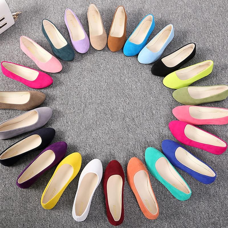 Plus Size 35-43 Women Flats Slip on Flat Shoes Candy Color Woman Boat Shoes Black Loafers Faux Suede Ladies Ballet Flats539