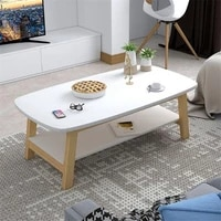 wood coffee table small living room double layer tea table creative rectangular wooden table sofa side table