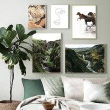 Scandinave toile affiche impression cheval rivière colline Nature mur Art photo paysage peinture Style nordique salon décoration