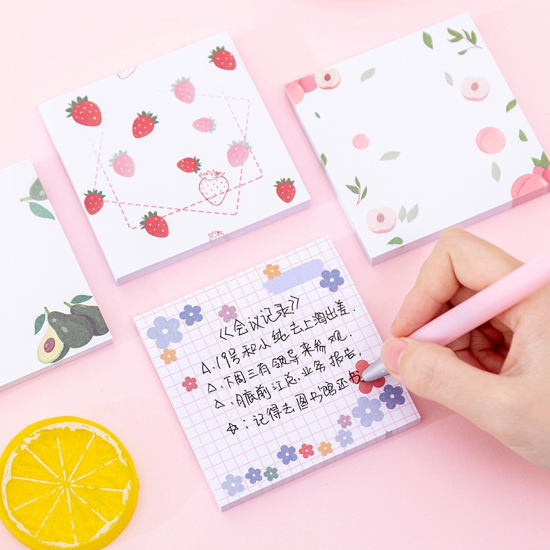 4pcs Girly Style Cute Floret Sticky Notes Sweets Fruit Color Memo Pad Book Marker Stickers Stationery Office School Supply H6913