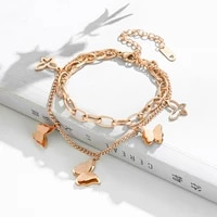 yaologe 316l stainless steel for women 3 colors 2 layer butterfly bracelets trendy thick chain 2021 new fashion party jewelry