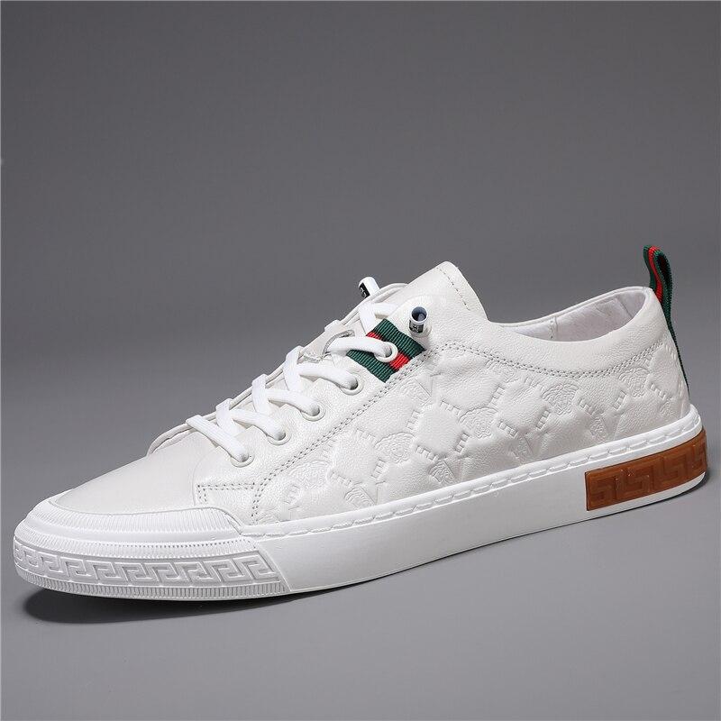 عالية الجودة أحذية من الجلد للرجال العلامة التجارية الفاخرة أحذية رجالي عادية ومريحة الدانتيل متابعة حذاء مسطح أحذية رياضية بيضاء