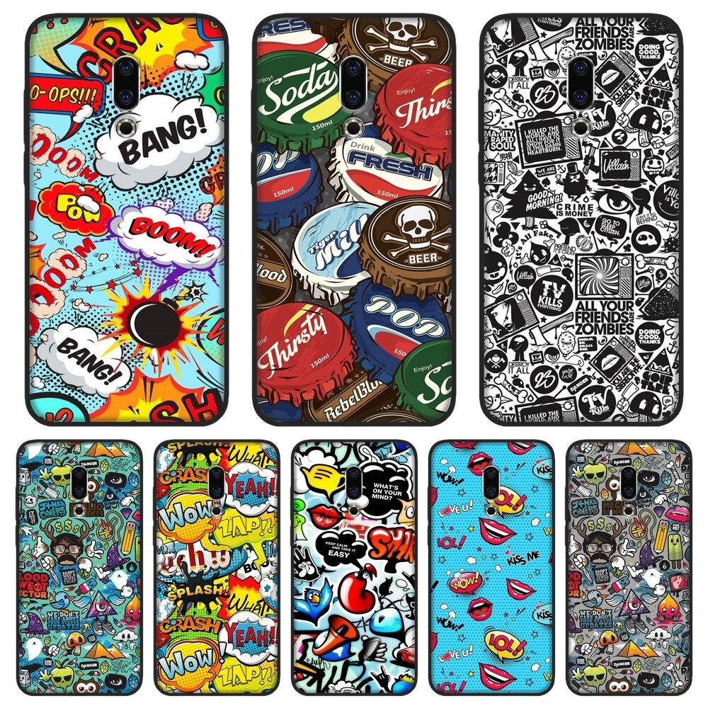 TPU Macio Caso de Telefone Silicone Para Meizu 16th 16x Lite 16 15 Plus Anime Graffiti Etiqueta Tampa Traseira Para Meizu U10 U20 Pro 6 7 Plus