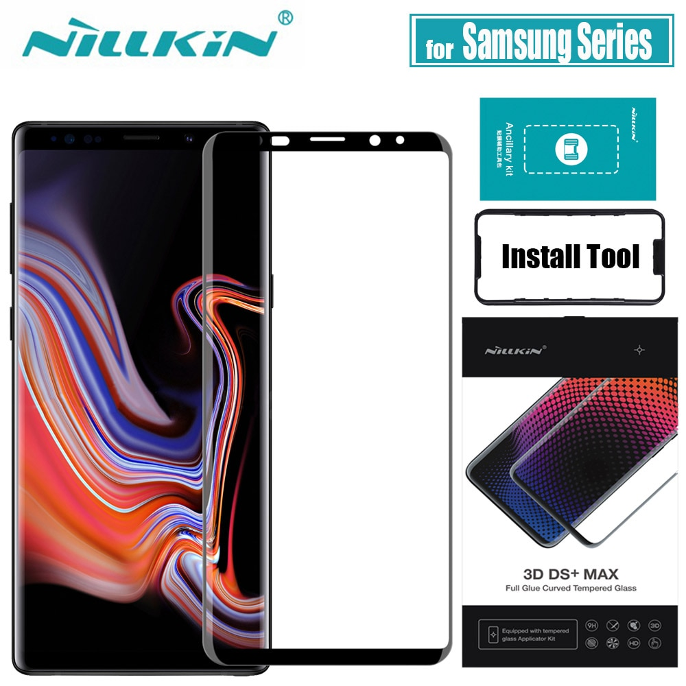 NILLKIN-واقي شاشة زجاجي مقوى لهاتف Samsung Note 9 8 S9 Plus ، غطاء كامل ثلاثي الأبعاد مع غراء زجاجي واقي لهاتف Galaxy Note9 Note8
