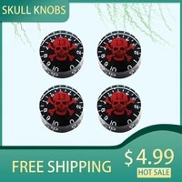 4pcs skull guitar knobs electric guitar bass top hat knobs speed volume tone control knobs for lp sg tl st style guitar