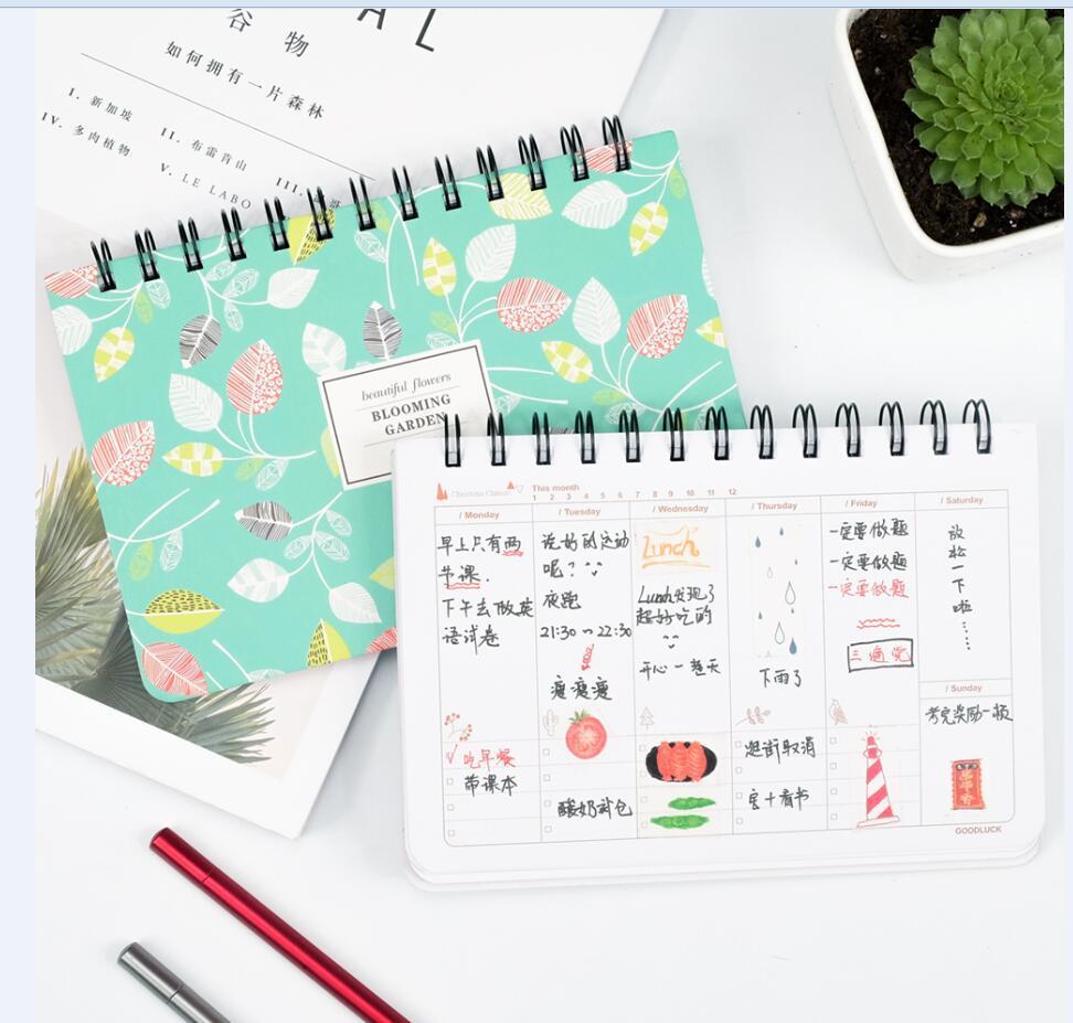 Kawaii agenda 2020 2021 planejador semanal espiral gato caderno para a escola papelaria flor plano diário sketchbook material de escritório