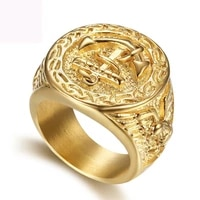 new boat anchor finger ring jewelry titanium steel figure rings fashion jewelry gold color navy ring for men free shipping