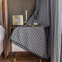 geometric fishbone pattern imitation cotton and linen printed curtains for living room bedroom balcony bay window finished
