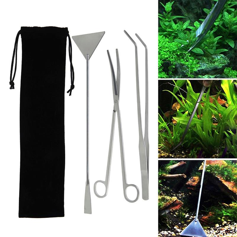 3pcs Aquarium Tank Cleaning Tools Stainless Steel Fish Tank Scissor Tweezer with Bag Aquatic Plants Set for Aquarium Maintenance