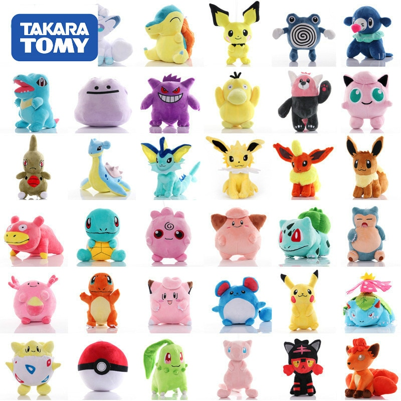 41 Styles TAKARA TOMY Pokemon Original Pikachu Squirtle Stuffed Hobby Anime Plush Doll Toys For Chil