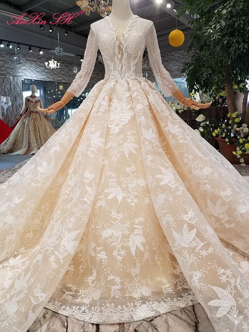 AnXin SH-فستان زفاف فاخر ، أميرة شامبانيا ، دانتيل مطرز ، كريستال ، رقبة دائرية ، أكمام طويلة متلألئة ، صورة حقيقية 100%