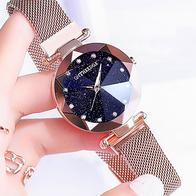 RZY Luxury Women Watches Gold Stainless Steel Ladies Magnetic Starry Sky Clock Fashion Waterproof Quartz Watch Magnetic Strap