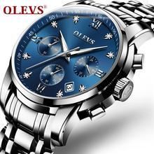 OLEVS Top marque militaire Quartz montres argent horloge hommes Quartz acier inoxydable chronographe montre pour hommes décontracté montre sportive