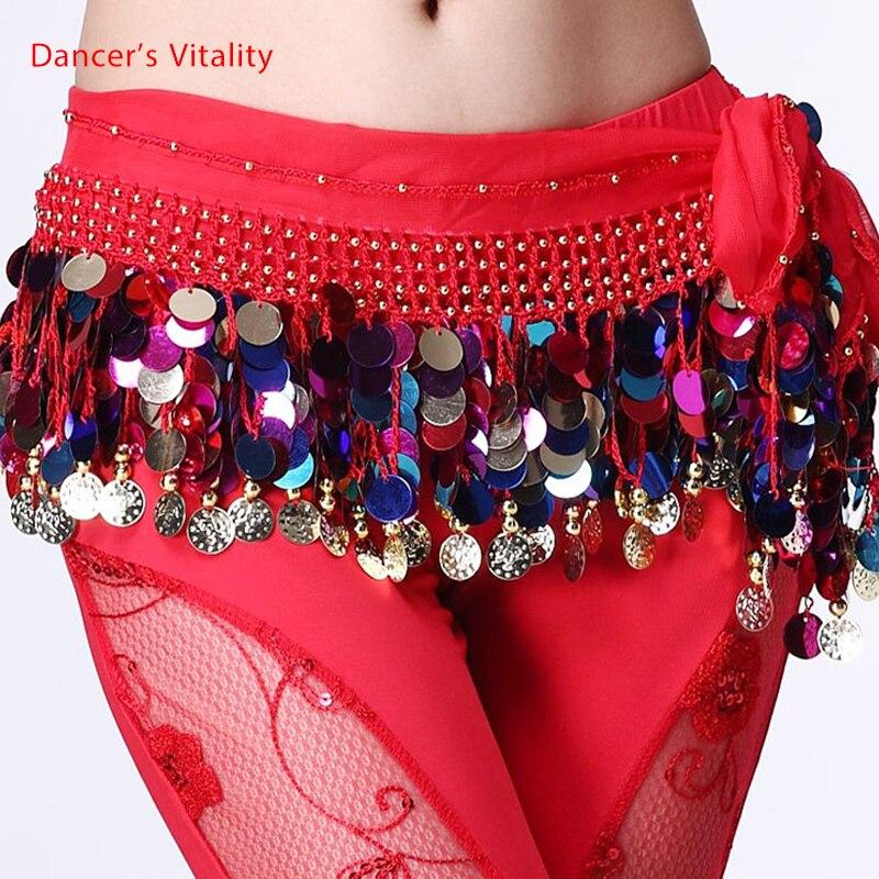Belly dance belt costumes sequins tassel belly dance hip scarf for women belly dancing belts indain colors belt