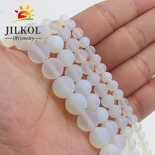 Perles dopale mat en pierre naturelle Opalite 4/6/8/10/12MM ajustement bricolage maquillage breloques perles de perles pour accessoires de fabrication de bijoux