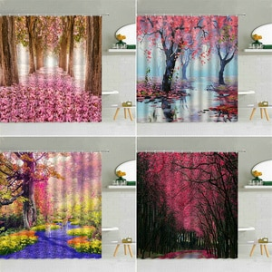 Pink Flower Trees Landscape Shower Curtain Deer River Road Spring Forest Scenery Bathroom Decor Waterproof Fabric Curtains Set