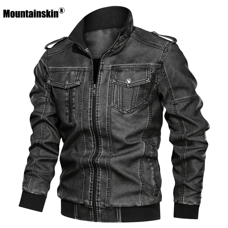 Mountainskin سترة جلدية رجالي 2021 الشتاء الخريف الرجال دراجة نارية سترة بولي يوريثان موضة يندبروف معطف الذكور ماركة الملابس SA785