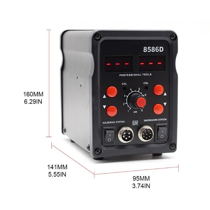 2 in 1 8586D Soldering  Station  – ABS Air Gun Welding Tool 220V/110V 100-480℃ Adjustable Temperature, LED Display enlarge