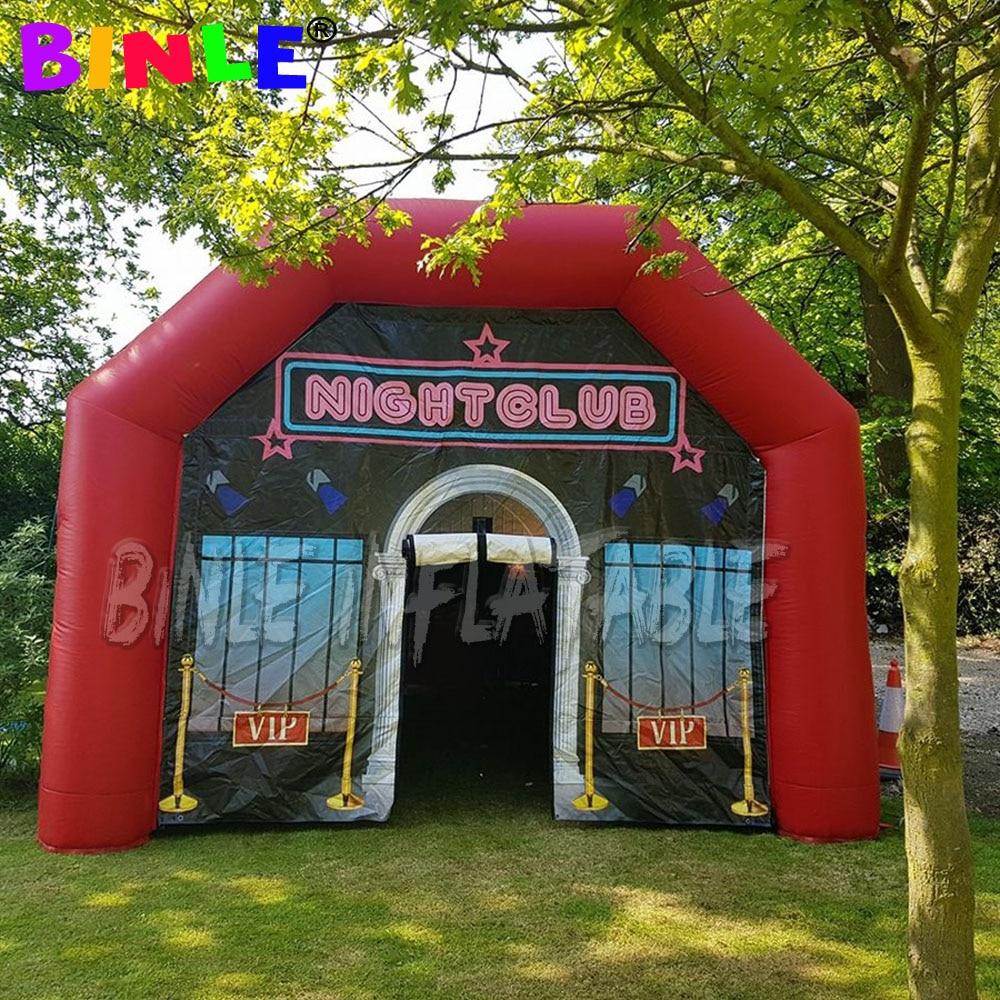 خيمة نفخ للنوادي الليلية باللون الأحمر مقاس 6 × 4.5 متر قابلة للنفخ في الهواء للبار والبيت للبالغين في النوادي الليلية للمناسبات والحفلات