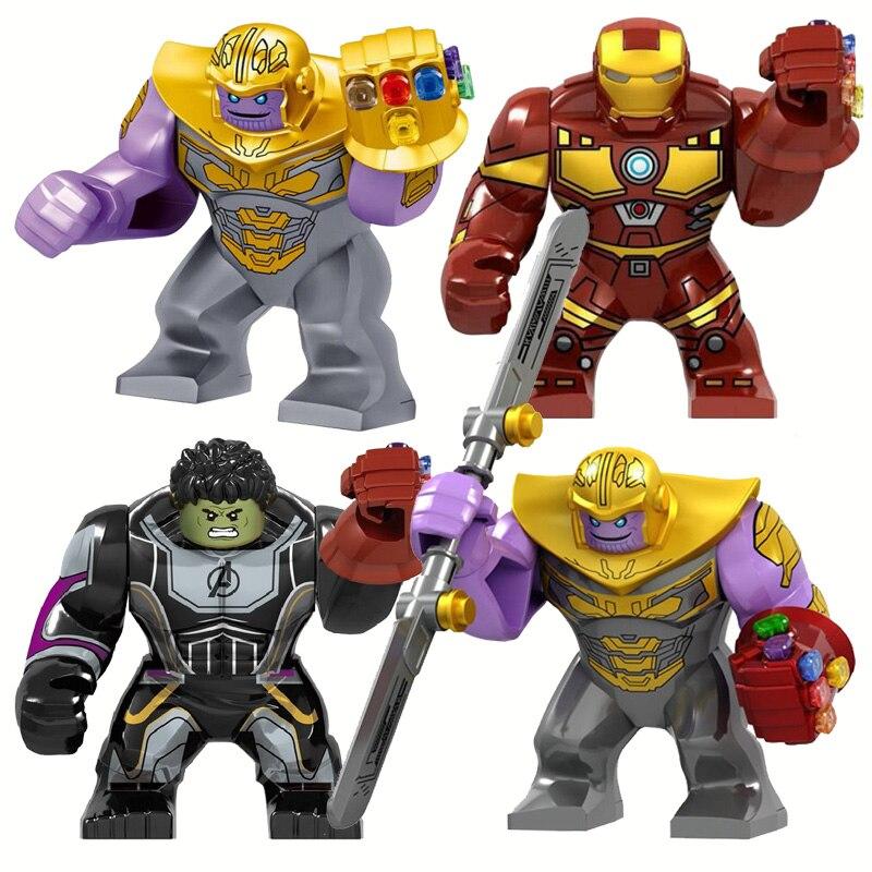 Big Size Iron Man With Gauntlet Hulk Thanos Spider Man Figures Blocks Construction  Bricks Toys For Children
