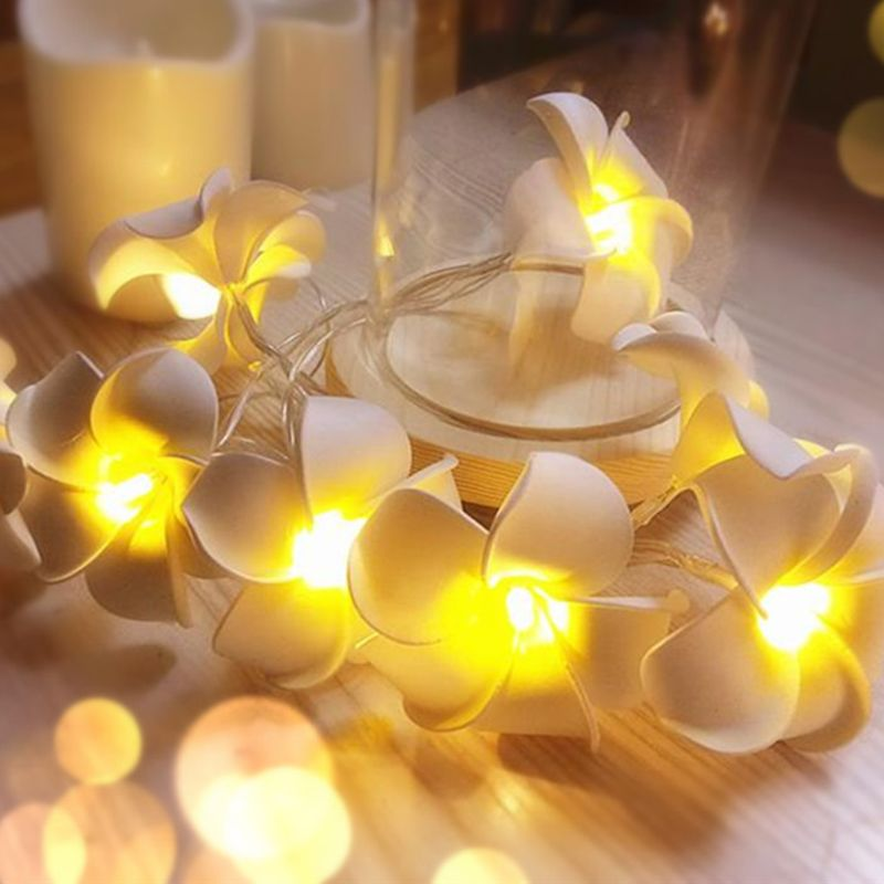 10/20/30/40 LED Plumeria Decorative String Lights Egg Flower Lamp Christmas Wedding Holiday Party Garden Romantic Decor