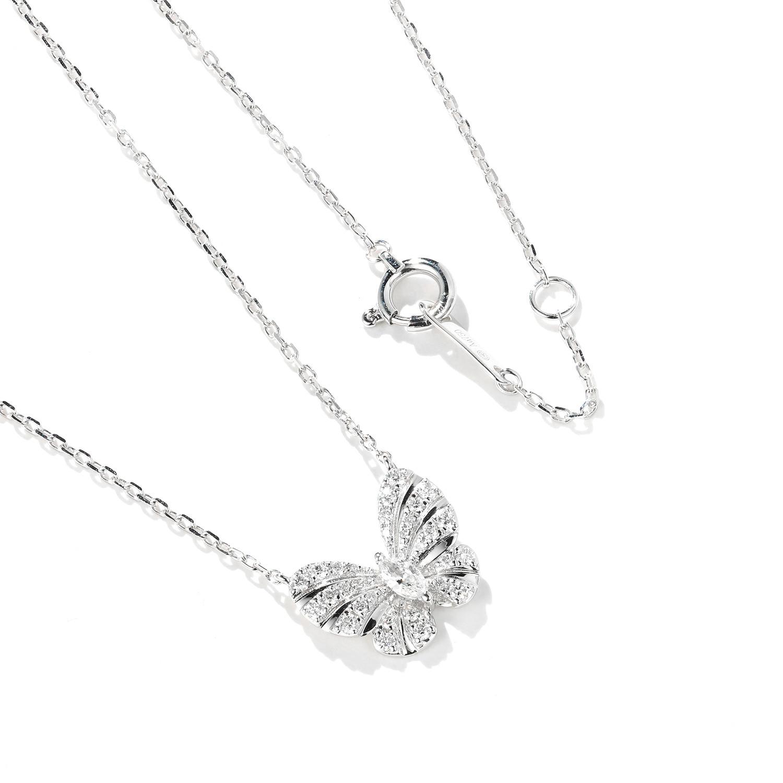 Изысканный 925 стерлингового серебра Блестящий AAA циркон Бабочка ожерелье для женщин Изысканная ключица цепочка ожерелье ювелирные изделия ...