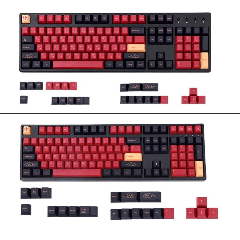 129 مفتاح PBT Keycap مجموعة صبغ تحت الكرز الشخصي الياباني الأحمر الساموراي Keycap