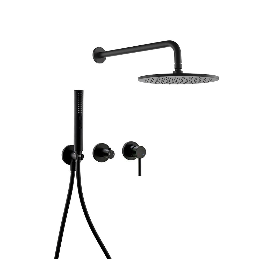 Smesiteli Matt Black Hot & Cold Shower System Sets With Brass Arm Diverter Kit Mixer Tap Hand Held Head Wall Valve Spout