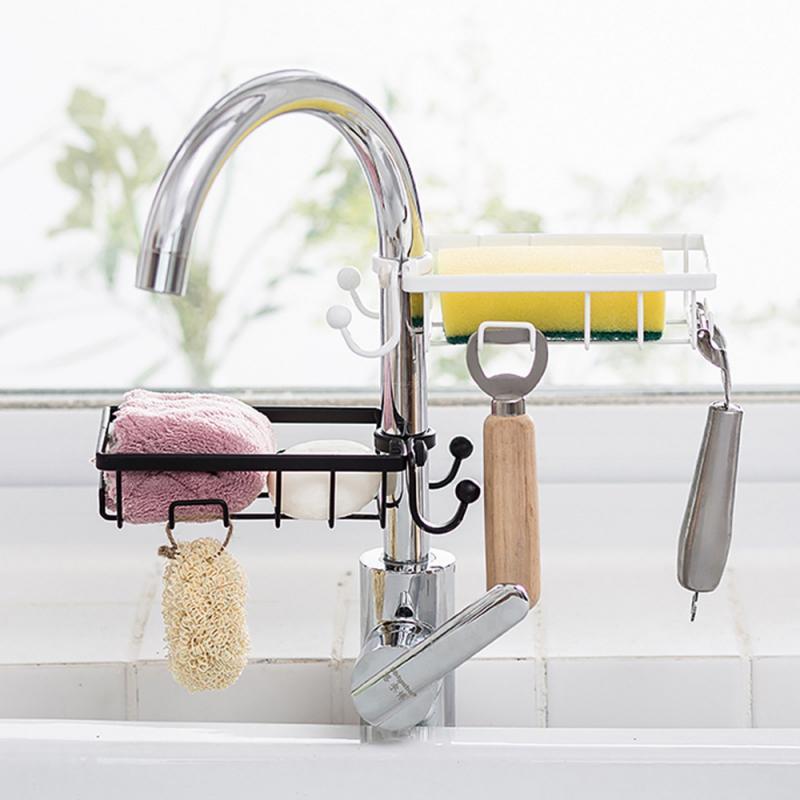 Accesorios de cocina grifo de hierro forjado esponja estante de tela estante de drenaje toalla seca estante de drenaje de cocina organizador de estante de drenaje