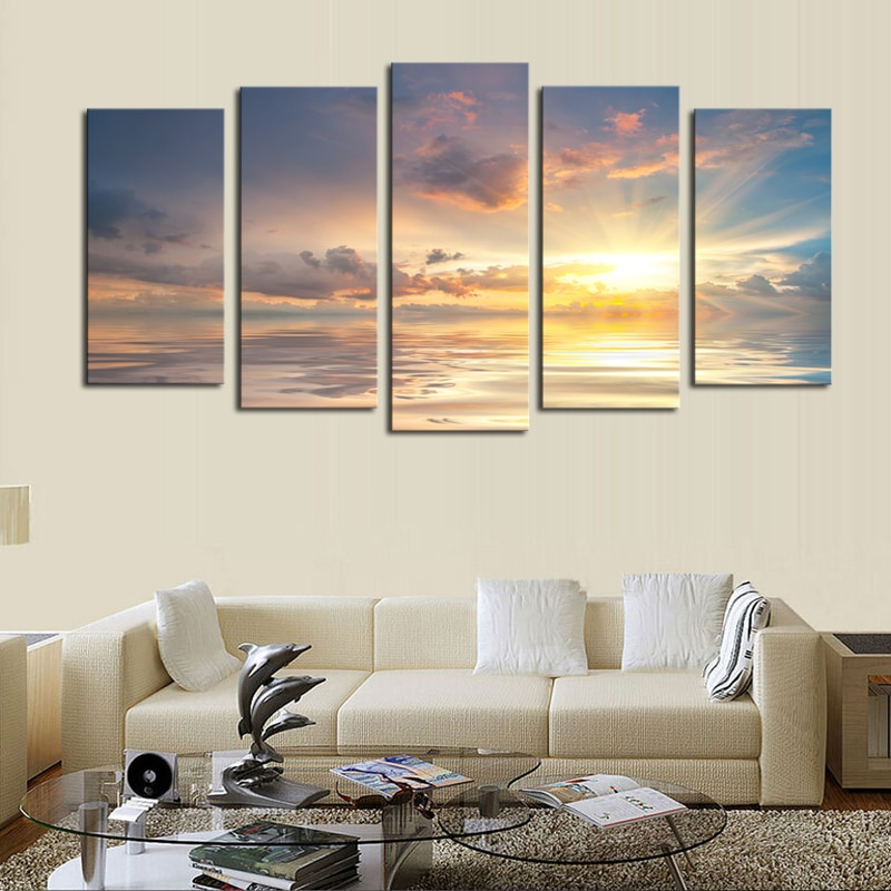 Unframed 5 Pcs Wall Painting Sunset Seaview Picture Print Painting Modern Canvas Wall Art For Wall Decor Home Decoration Artwork
