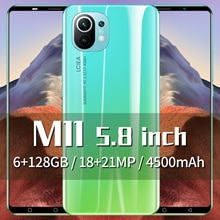 M11 5.8inci Smartphones Android 10.0 4500mAh Dual SIM 6GB RAM 128GB ROM 18+21MP 4G LTE 5G MTK6898 Mo