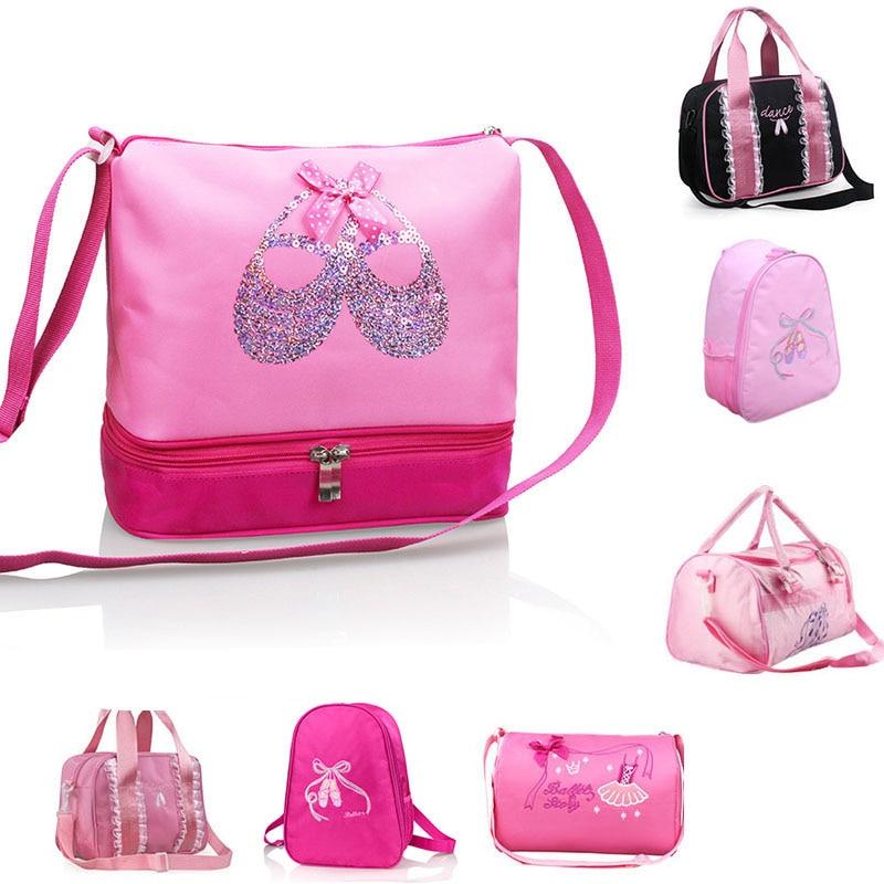 Girls Canvas Ballet Dance Bag Children Ballerina Sports Backpacks Cute Embroidered Bag For Dance 7 Styles