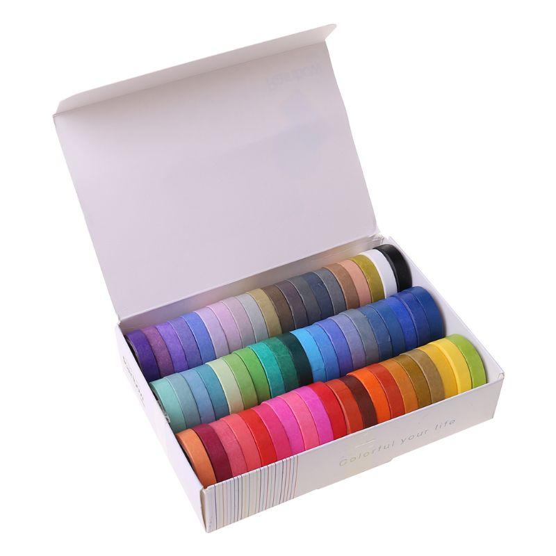 60 Rolls  Washi Masking Tapes | 8mm Wide Colorful Decorative Masking DIY Tapes K3KB